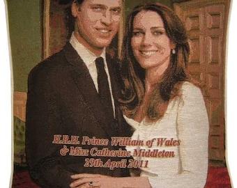 SALE - Royal Wedding HRH Prince William Kate Middleton Design No 2 Tapestry Cushion Cover Sham