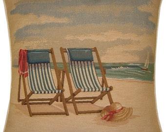 Beach Theme Deckchairs on the Beach Tapestry Cushion Cover Sham