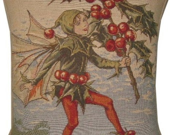 Flower Fairies Holly Tapestry Cushion Pillow from the books of Cicely Mary Barker