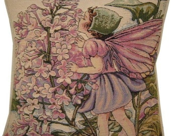Flower Fairies Lilac Tapestry Cushion Pillow from the books of Cicely Mary Barker