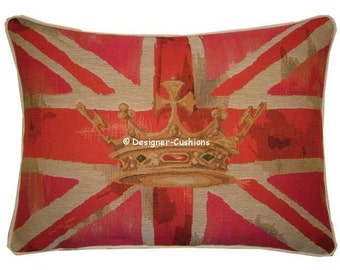 Union Jack Pink Design No 2 Tapestry Cushion Pillow Cover