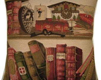 Library Books Keys Woven Tapestry Cushion Cover Sham