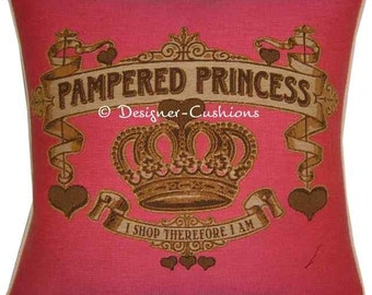 SALE Pampered Princess Pink Woven Tapestry Cushion Cover Sham