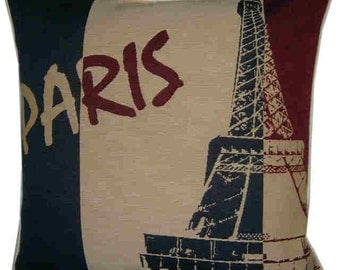Paris Eiffel Tower French Flag Woven Tapestry Cushion Cover Sham Pillow