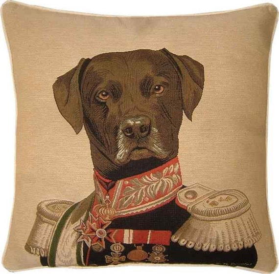 Thierry Poncelet Chocolate Labrador Tapestry Cushion Cover Sham