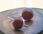 Round Carnelian silver dangle earrings