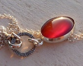 Handmade Oval Carnelian silver Necklace