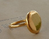 24K  Gold plated Organic recycled silver round ring