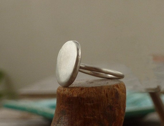 Handmade Organic recycled sterling silver round ring