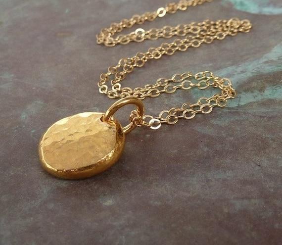 Gold necklace Handmade Organic golden necklace