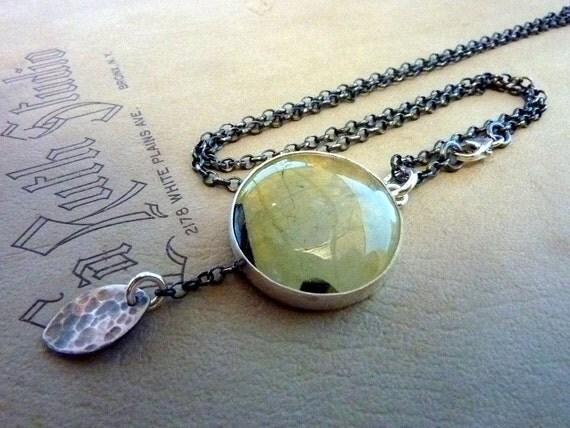 Prehnite necklace - Grape green Prehnitegemstone pendant -  sterling silver oxidized chain.