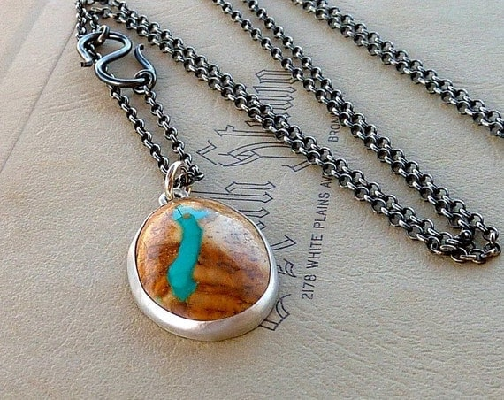Nevada Boulder Turquoise and silver necklace, men and Women necklace,  Statement necklace