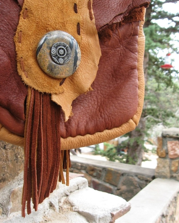 deerskin & elkhide messenger bag  - serengeti steampunk