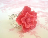 Cherry Blossom In Pink Silver Adjustable Ring