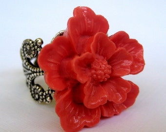 Cherry Blossom In Coral Antique Silver Adjustable Statement Ring