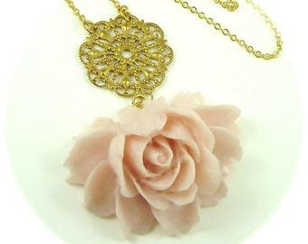 Julia Drama Rose In Powder Pink Statement Necklace Bridal Wedding Jewelry
