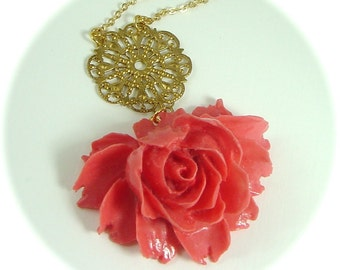 Julia Drama Rose In Coral Statement Necklace Bridal Wedding Jewelry