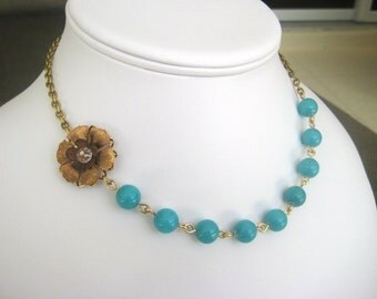 Golden Blossom Necklace Bridal Wedding Jewelry