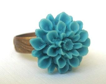 Simply Petite Teal Chrysanthemum Adjustable Ring