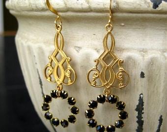 Jet Black Crystal Chandelier Dangle Earrings Bridal Wedding Jewelry