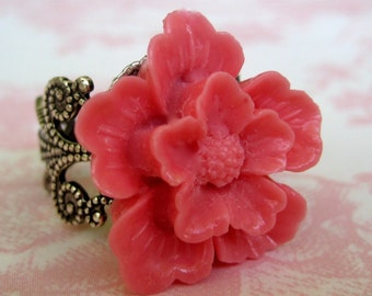 Cherry Blossom In Pink Antique Silver Adjustable Statement Ring