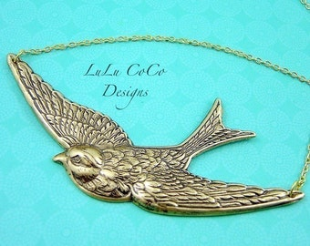 Swooping Sparrow In Antique Brass Necklace