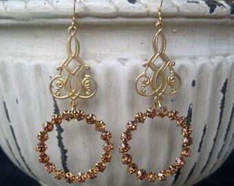 Topaz Crystal Chandelier Dangle Earrings Bridal Wedding Jewelry