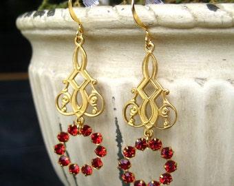 Garnet Red Crystal Chandelier Dangle Earrings Bridal Wedding Jewelry