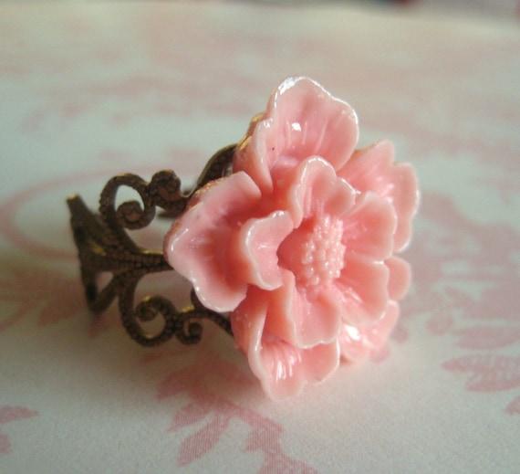 Cherry Blossom In Light Pink Fancy Brass Adjustable Ring