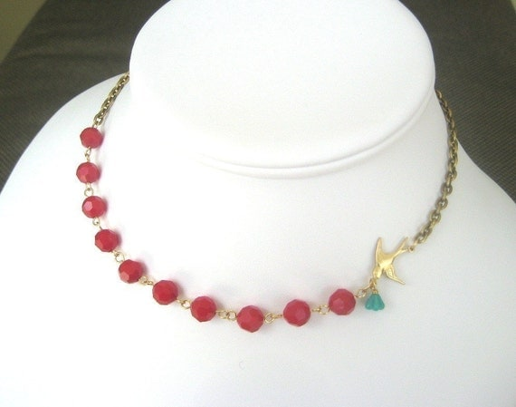 Berries and Bluebird Necklace - FREE GIFT WRAPPING