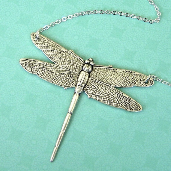 NEW - Dragonfly In Antique Silver Necklace