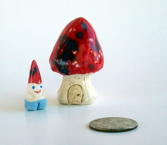 Little Mushroom Home with Gnome porcelain miniature