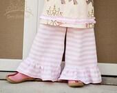 Pink and white stripe knit ruffle pants 12 18 24 2 3 4 5 6 7 8