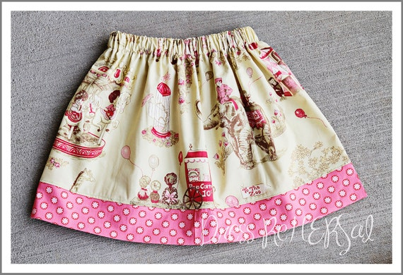 To the Circus  Pale pink and yellow vintage circus skirt 12 18 24 2 3 4 5 6 7 8 ONLY 1 Left
