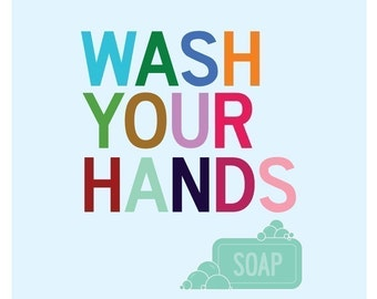 Wash Your Hands Bathroom Art Print, Bathroom Sign, Kids Bathroom Art Prints, Wash Sign Kids Bathroom