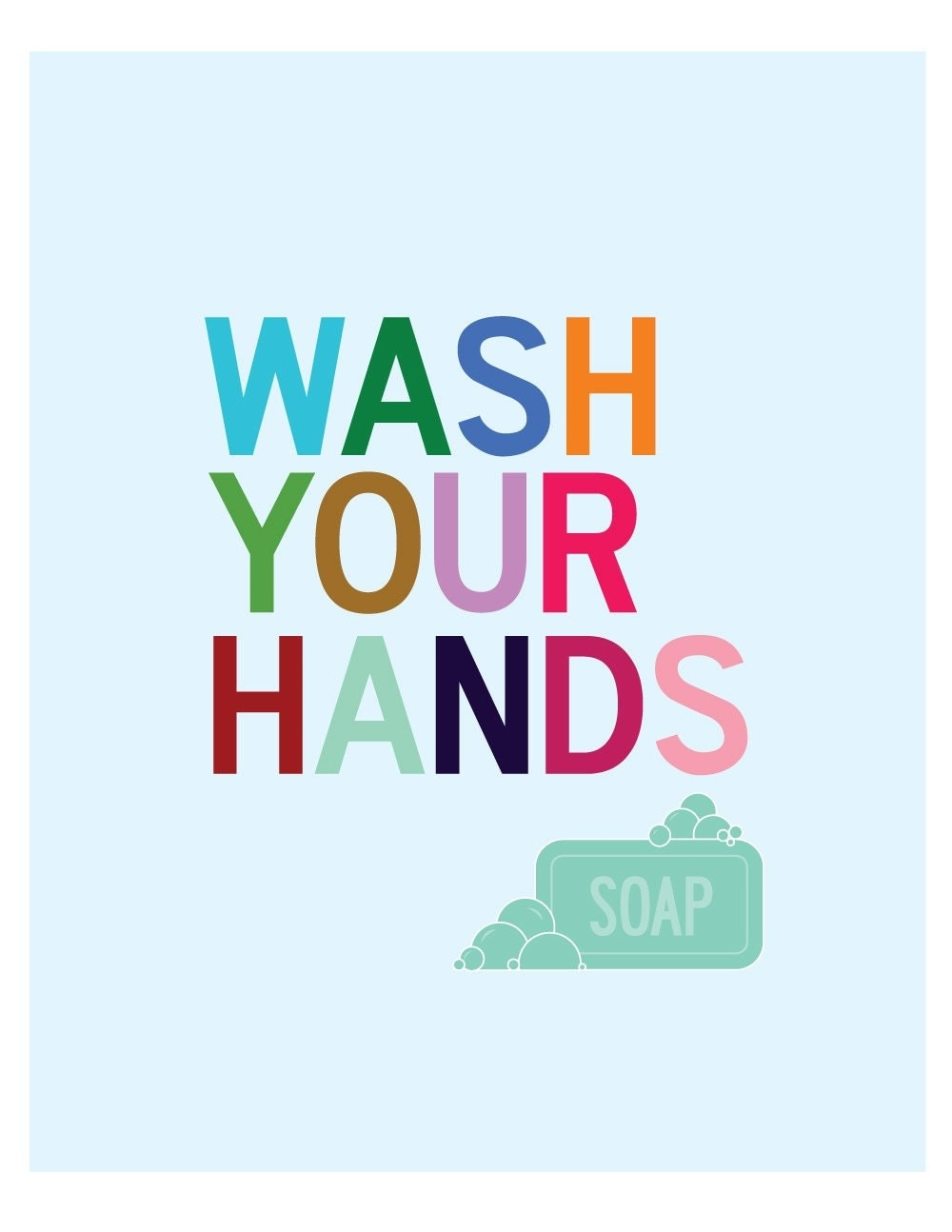 Wash your hands 8 x 10 print for Clean the bathroom in spanish