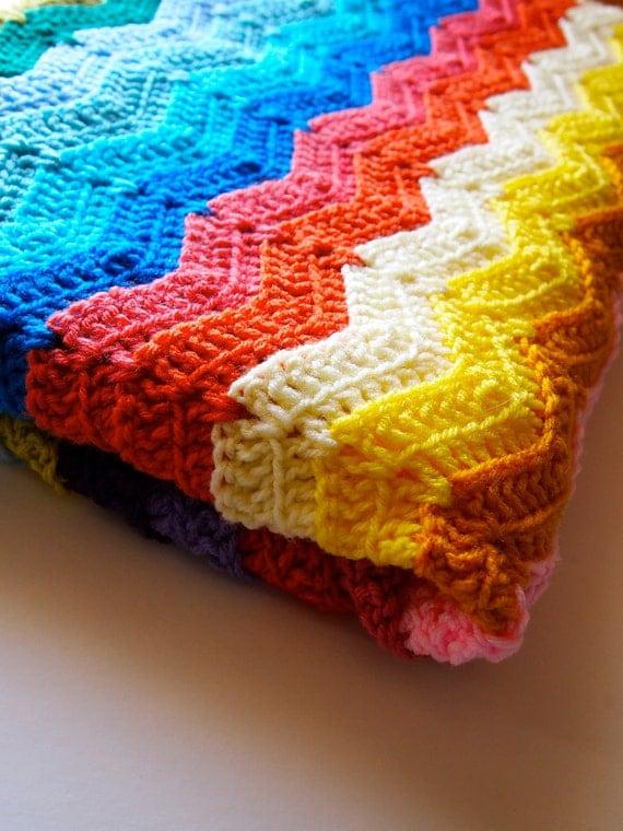Rainbow ripple crochet blanket, crochet afghan blanket in rainbow stripes, made to order