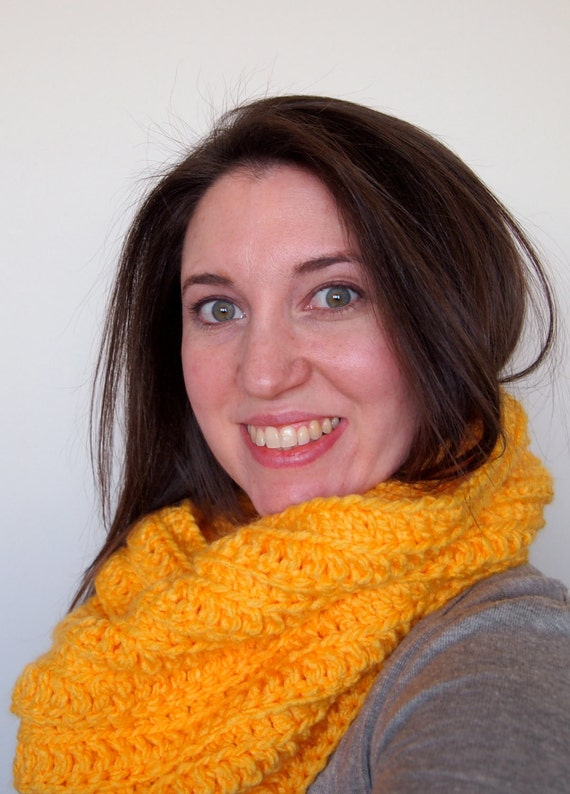 Large crochet cowl, oversized cowl in marigold yellow