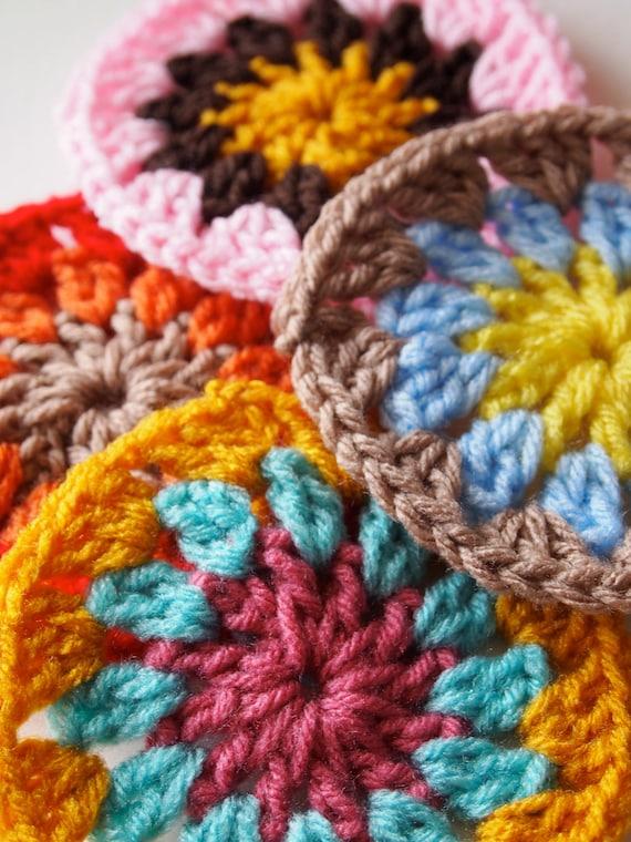 Multicolor crochet granny circle coasters, crochet appliques