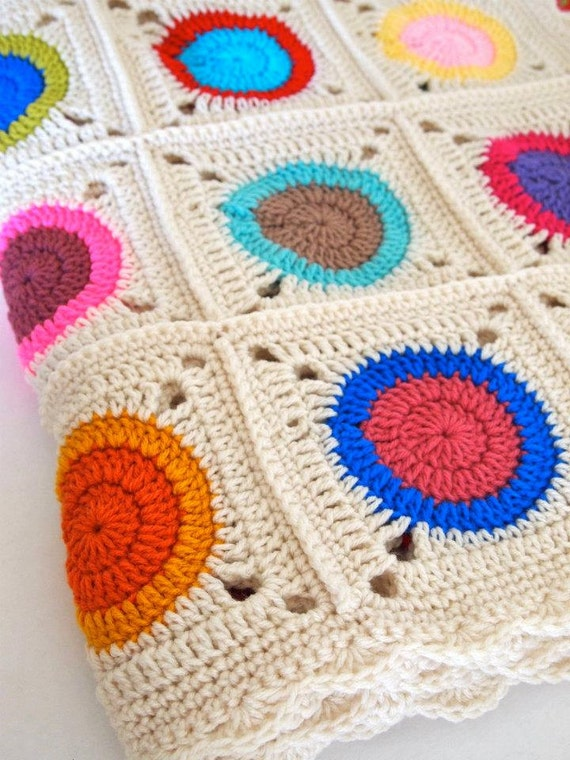 Reserved for Lotti - Crochet blanket granny squares with circles in bright colors