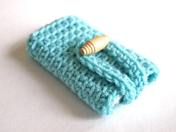 Phone case, crochet iPhone 4 case, iPhone 4 cover, iPhone case in aqua blue