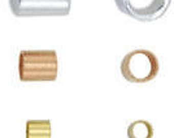 Silver or Gold Plated Beadalon Crimp Bead or Tube CHOOSE Size and Quantity