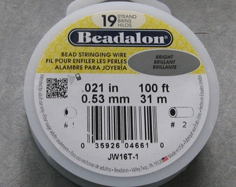 Beadalon Wire 19 Strand Beading Thread .021 Diam 100 ft Spool