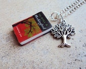 ToKillAMockingbird Necklace with Book Charm and Metal Tree Charm