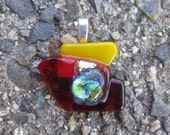 Fire Candy Fused Dichroic Glass Pendant - CLEARANCE, Original Price 25 USD