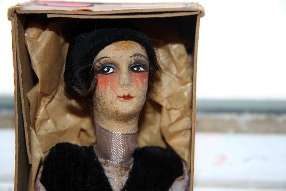 Sale 1920s boudoir doll feather duster with original box