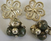 2 Pair of Vintage Gold Metal and Beaded Costume Jewelry Clip Earrings