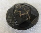 Small ANTIQUE Black Glass Imitation Fabric Key Shank BUTTON