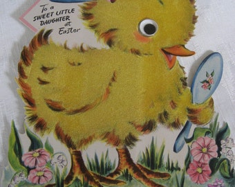 Large VINTAGE Hall Brothers Hallmark 1947 Child Daughter Easter Chick Stand Up Greeting Card    E4