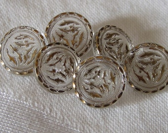 Set of 6 VINTAGE Gold tint Clear Glass BUTTONS